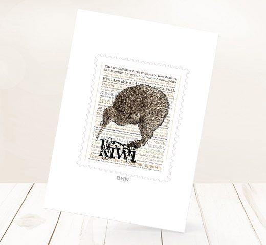 Kiwi print on card