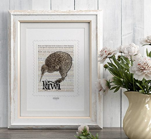 Kiwi print display in frame