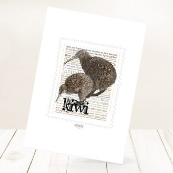 Brown Kiwi and Spotted Kiwi print on card.