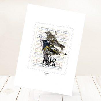 Hihi print on card.