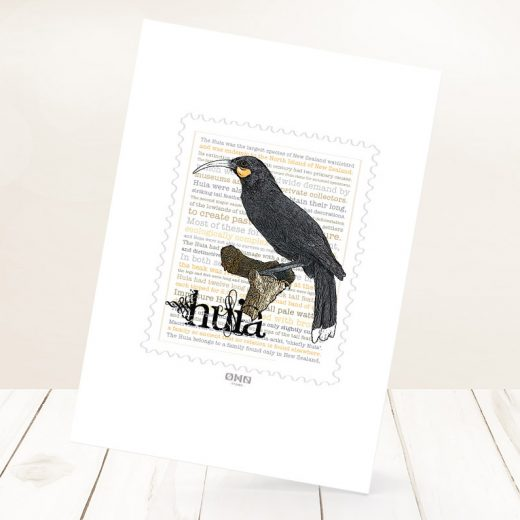 Huia print on card.