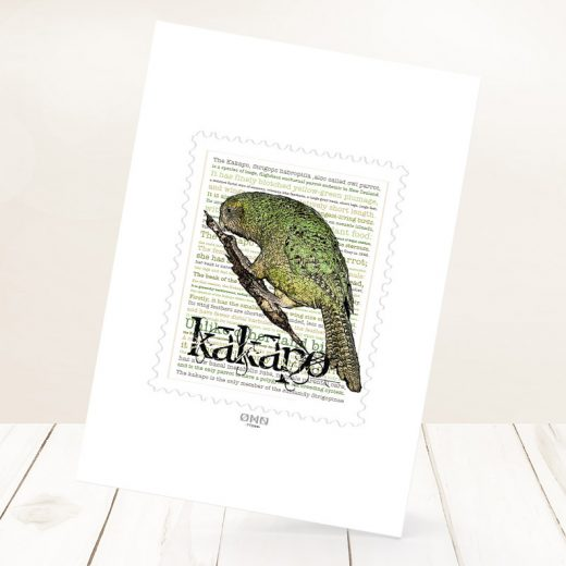 Kākāpō print on card.