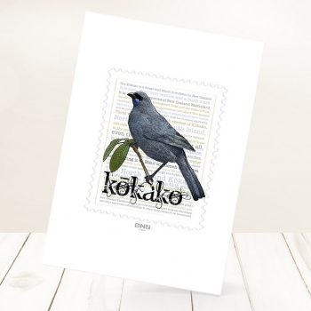 Kokako print on card.