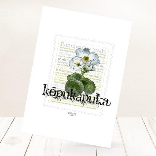 Kōpukapuka print on card.