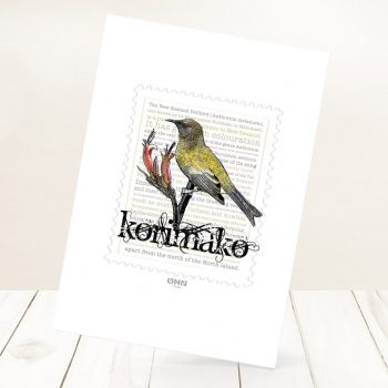 Korimako print on card.