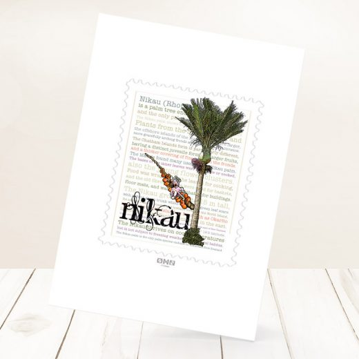 Nīkau print on card.