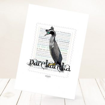Parekareka print on card.