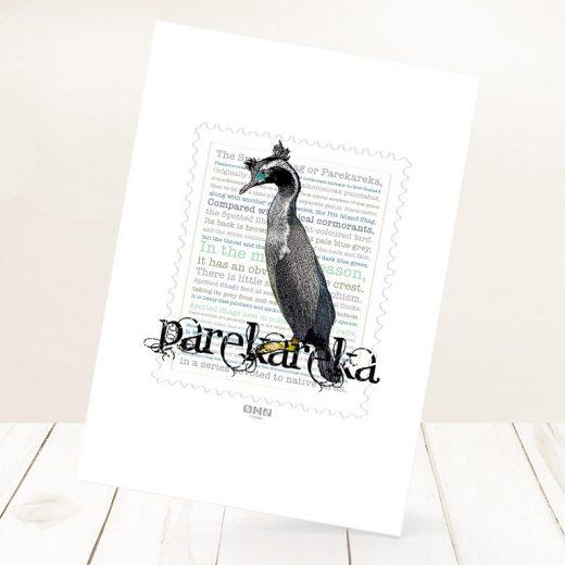 Parekareka print on card.
