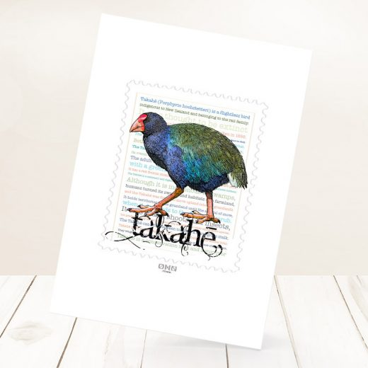 Takahe print on card.