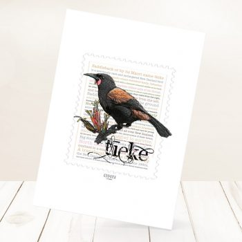 Tieke print on card.