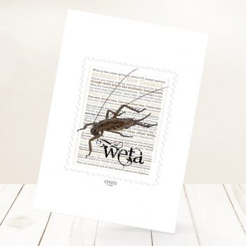 Wētā print on card.
