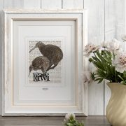 Brown Kiwi and Spotted Kiwi print on card. print display in frame