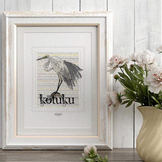 Kotuku print on card. print display in frame