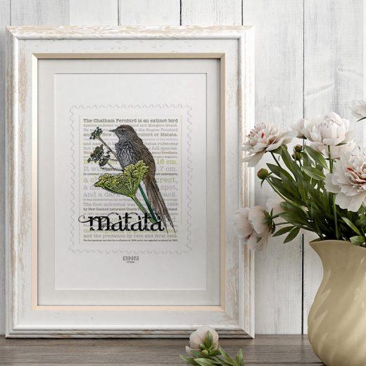 Mātātā print display in frame