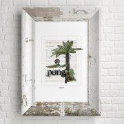 Ponga print on card. print display in frame