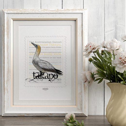 Tākapu print display in frame