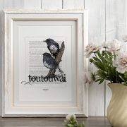 Toutouwai print display in frame
