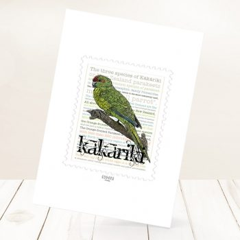 Kākāriki print on card.