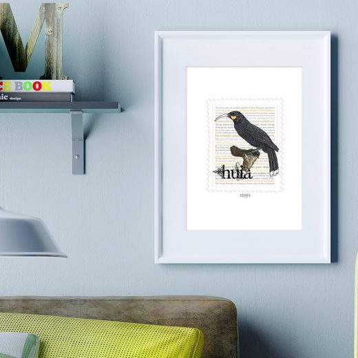 Huia print on card. print display in frame on location
