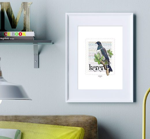 Kereru print display in frame on location