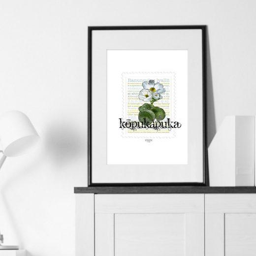 Kōpukapuka print on card. print display in frame on location