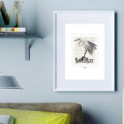 Kotuku print on card. print display in frame on location