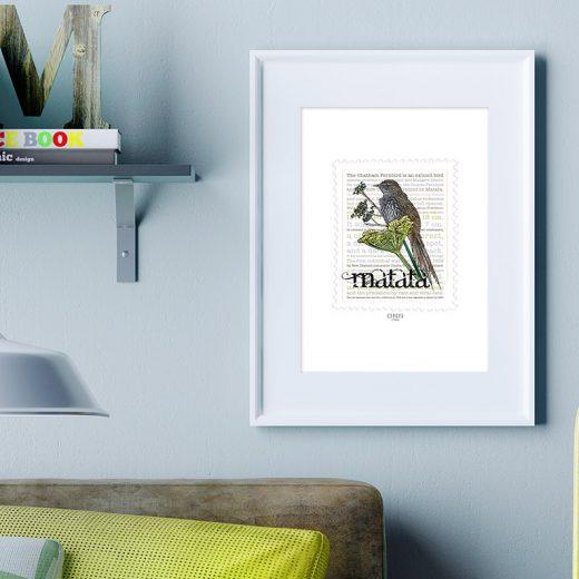 Mātātā print display in frame on location