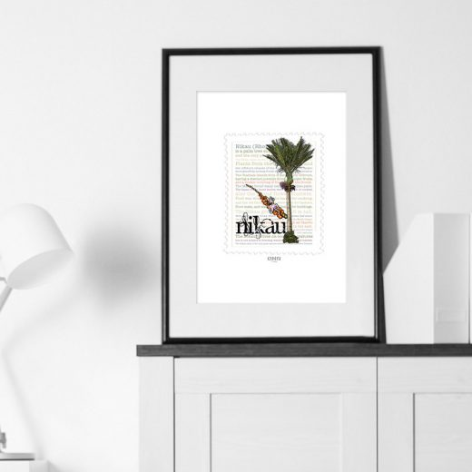 Nīkau print on card. print display in frame on location