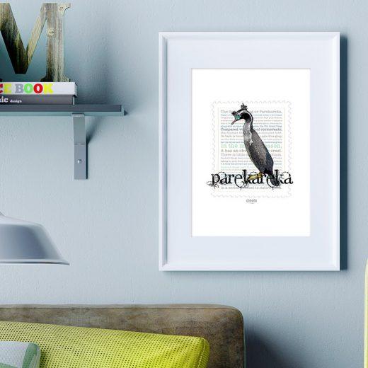 Parekareka print on card. print display in frame on location