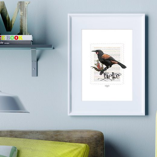Tieke print display in frame on location