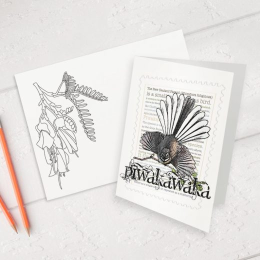 Piwakawaka print on greeting blank card with colour-in envelope.