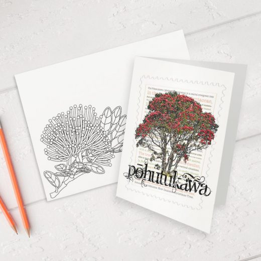 Pōhutukawa print on greeting blank card with colour-in envelope.