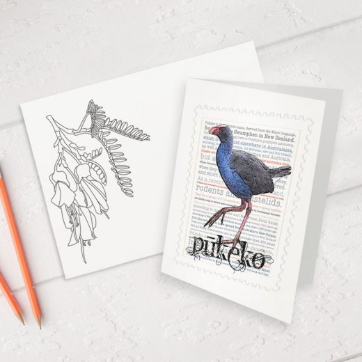 Pūkeko print on greeting blank card with colour-in envelope.