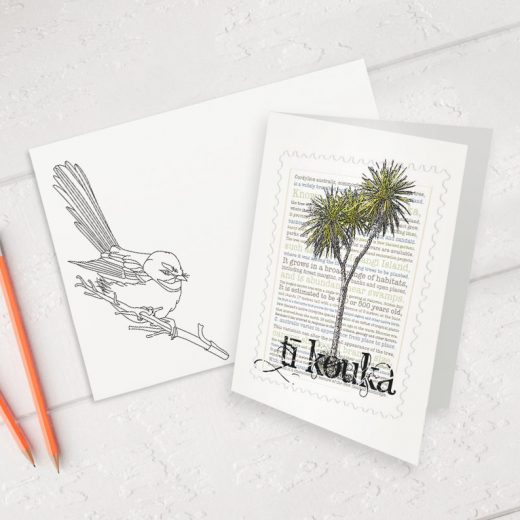 Tī Kōuka print on greeting blank card with colour-in envelope.