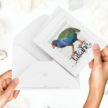 Takahe print on greeting blank card with colour-in envelope.