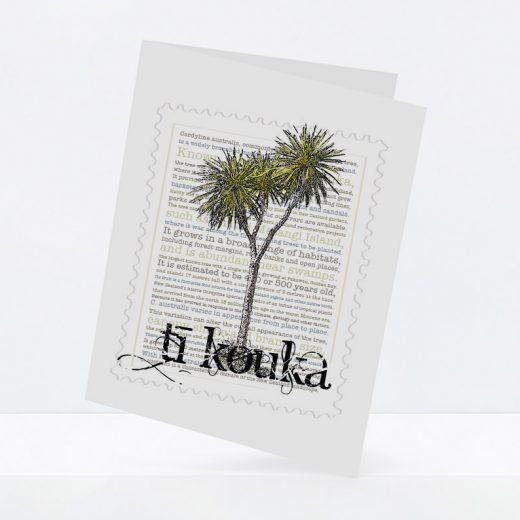 Tī Kōuka print on greeting blank card.