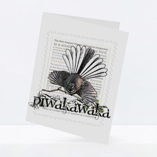 Piwakawaka print on greeting blank card.