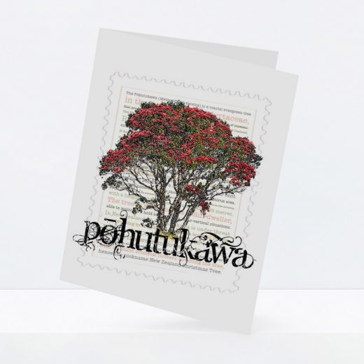 Pōhutukawa print on greeting blank card.