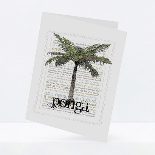 Ponga print on greeting blank card.