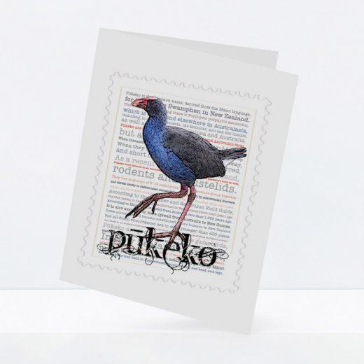 Pūkeko print on greeting blank card.