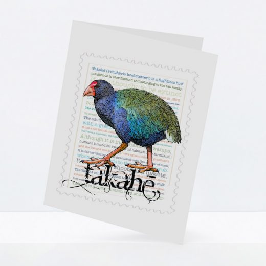 Takahe print on greeting blank card.