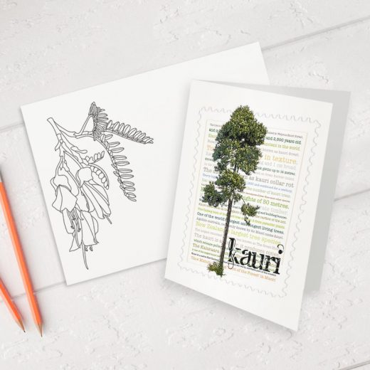 Kauri print on greeting blank card with colour-in envelope.